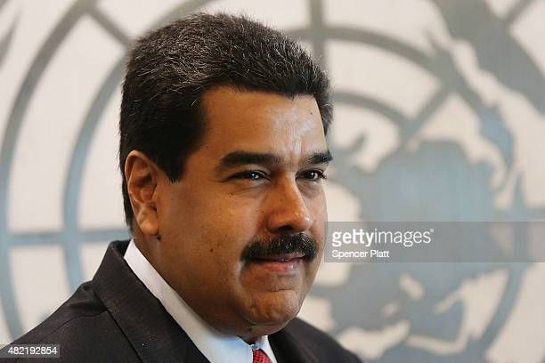 Venezuelan President Nicolas Maduro meets with UN chief Ban Kimoon at the United Nations headquarters in New York on July 28 2015 in New York City...