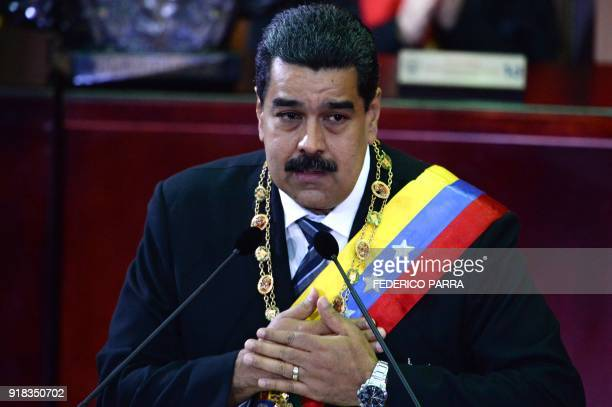 Venezuelan President Nicolas Maduro speaks during a ceremony in the opening of the judicial year at the Supreme Court in Caracas on February 14 2018...