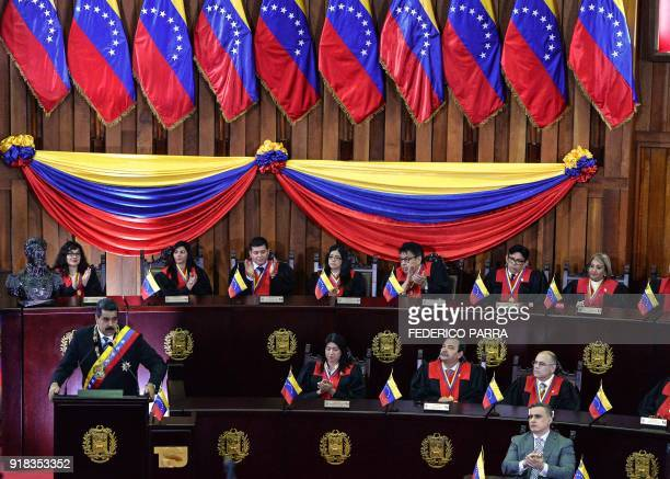 TOPSHOT Venezuelan President Nicolas Maduro speaks during a ceremony in the opening of the judicial year at the Supreme Court in Caracas on February...