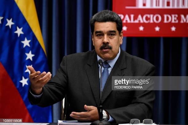 Venezuelan President Nicolas Maduro speaks during a press conference with international media correspondents following his recent trip to China at...