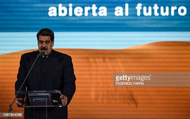 Venezuelan President Nicolas Maduro speaks to businessmen during the presentation of Venezuela's nationbrand in Caracas on February 11 2019