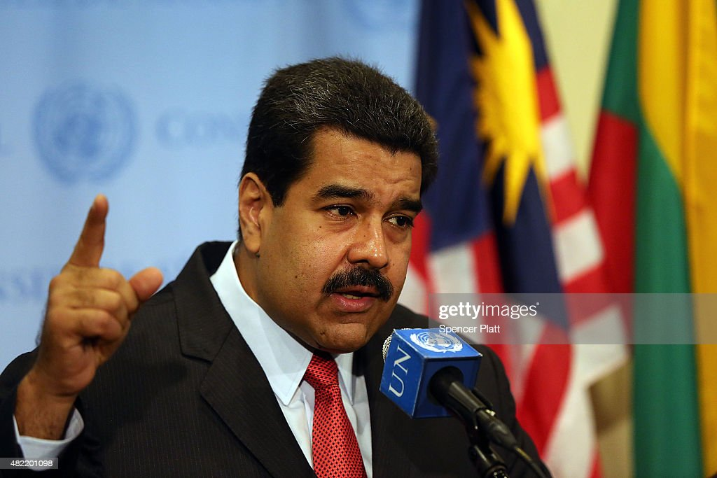 Venezuelan President Nicolas Maduro speaks to the media following a meeting with UN chief Ban Ki-moon at the United Nations (UN) headquarters in New York on July 28, 2015 in New York City. Maduro is in New York to speak with the UN about his country's escalating border dispute with Guyana.