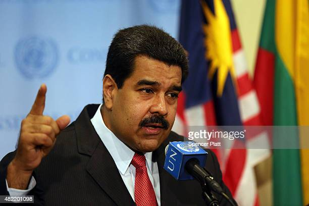 Venezuelan President Nicolas Maduro speaks to the media following a meeting with UN chief Ban Kimoon at the United Nations headquarters in New York...