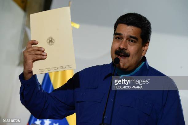 Venezuelan President Nicolas Maduro speaks to the press before attending a rally in Caracas on February 7 2018 Maduro launched Wednesday a political...