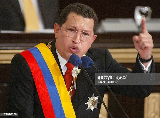 Venezuelan Presient Hugo Chávez delivers his annual message at the National Assembly in Caracas 17 January 2003 Venezuela will soon raise oil...