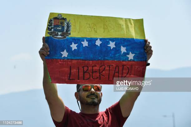 A Venezuelan protests against the government of President Nicolas Maduro demanding Freedom at the Tienditas International Bridge in Cucuta Colombia...