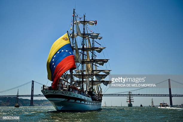 Venezuelan sailing ship Simon Bolivar departs from Lisbon on July 25 2016 during the Tall Ships race 2016 an international event which brings...