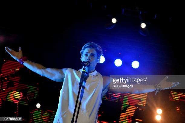 Venezuelan singer Carlos Baute seen performing during the live concert in the City of Esplugues in Barcelona for the Saint Matthew Day