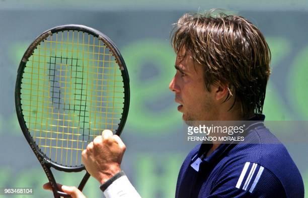 Venezuelan tennis player Jimy Szymanski celebrates his victory in the match in Guatemala City 06 April 2001 for the Davis Cup Szymanski won 63 62 63...