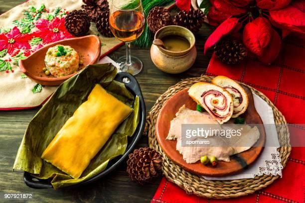 Venezuelan traditional Christmas food: Hallacas, Pan de Jamon, Pernil de Cochino and Ensalada de Gallina