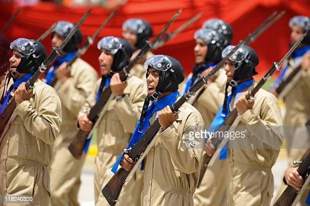 Venezuelan troops in vintage uniforms and weapons parade during the commemoration of Venezuela's Bicentennial in Caracas on July 05 2011 Venezuela...