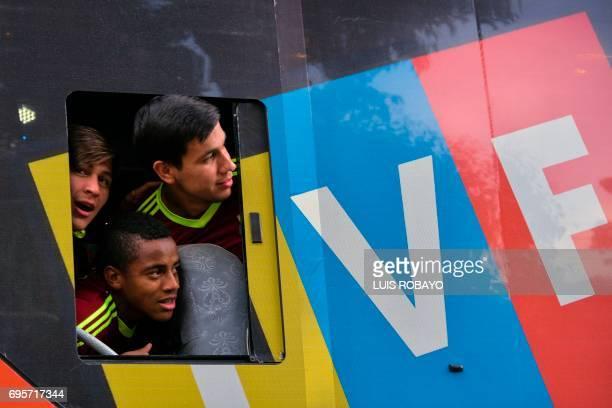 Venezuelan Under20 national team players Ronaldo Pena Wuilker Farinez and Josua Mejia runnerups at the U20 World Cup in South Korea look at fans...