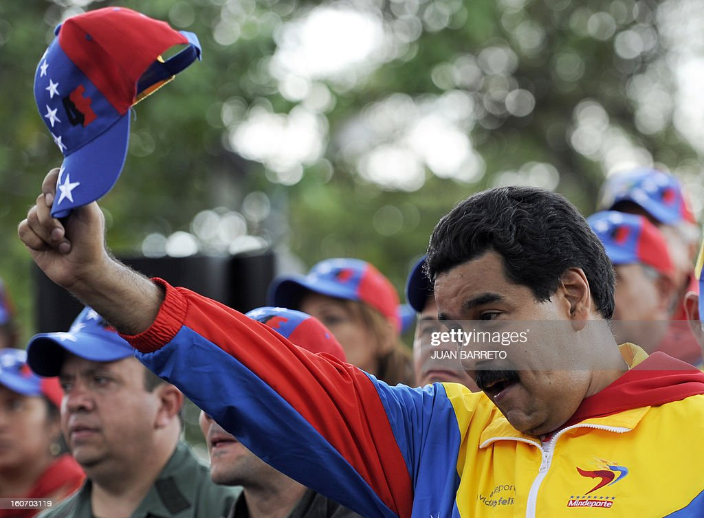 Venezuelan Vice President Nicolas Maduro waves during the conmemoration of the 1992 failed coup led by Chavez, who was an army lieutenant colonel, against then president Carlos Andres Perez, in Car...