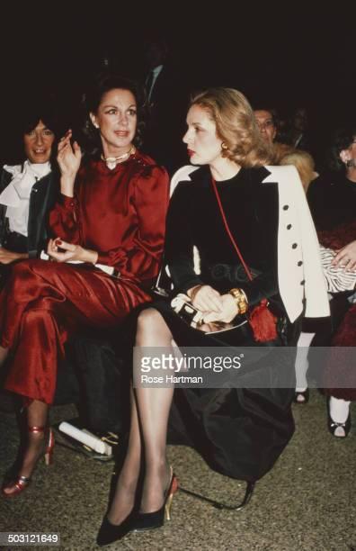 Venezuelan-American fashion designer Carolina Herrera attends a fashion show in Bryant Park, New York City, circa 1988.
