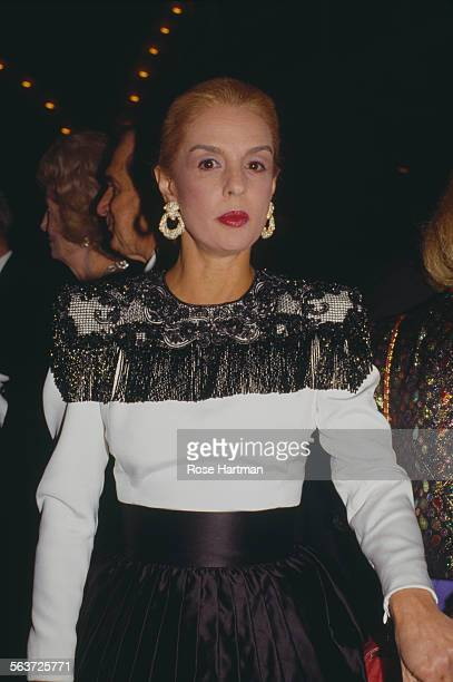 VenezuelanAmerican fashion designer Carolina Herrera attends the Saks Fifth Avenue gala New York City circa 1994