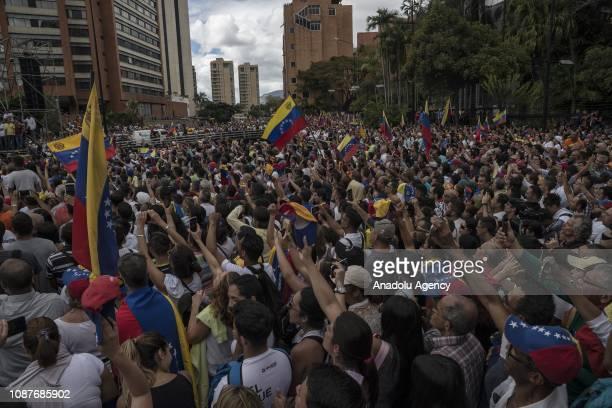 Venezuelans gather for a mass rally against Nicolas Maduro in Caracas Venezuela on January 23 2019 President Donald Trump recognized Juan Guaido...