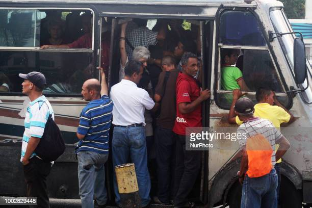 Venezuelans have to run the risk of transporting themselves like animals on 19 July 2018 in Maracaibo Venezuela Due to the serious economic situation...