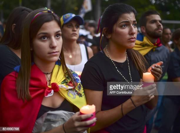 Venezuelans protest against President Nicolas Maduro in Caracas on July 31 2017 Venezuela's attorney general Luisa Ortega a vocal dissenter in...