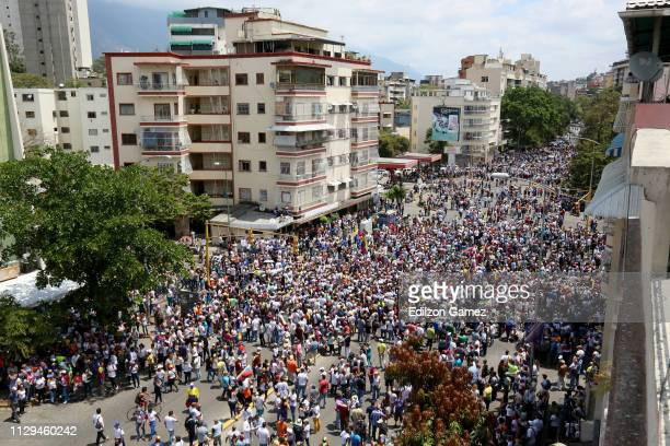 Venezuelans take part in a protest against the government of Nicolas Maduro on March 9, 2019 in Caracas, Venezuela. Opposition leader and self...