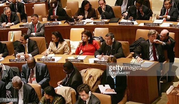 Venezuela's Ambassador to the United Nations Francisco Arias Cardenas and the US Ambassador to the United Nations John Bolton prepare to vote for the...