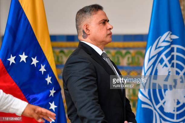 Venezuela's Attorney General Tarek William Saab arrives for a press conference after holding a meeting with the United Nations High Commissioner for...
