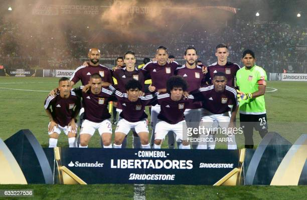 Venezuela's Carabobo FC football team players pose before their 2017 Copa Libertadores football match against Colombia's Junior at the Misael Delgado...