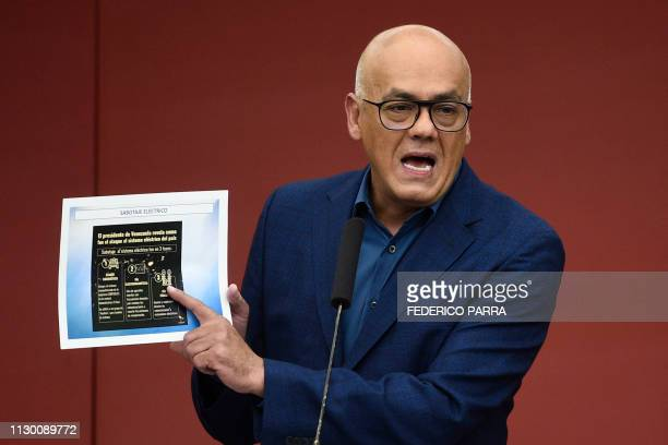 Venezuela's Communications Minister Jorge Rodriguez shows a diagram on the electric sabotage which according to the government is causing the...