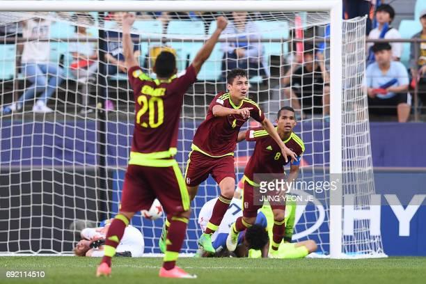 Venezuela's defender Nahuel Ferraresi reacts after scoring during their U20 World Cup quarterfinal football match between Venezuela and the US in...