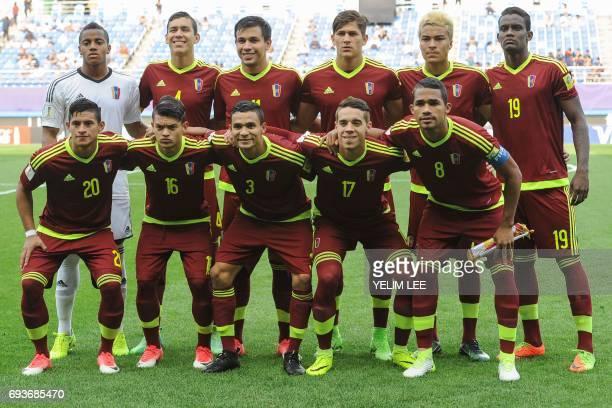 Venezuela's defender Ronald Hernandez midfielder Ronaldo Lucena defender Eduin Quero defender Josua Mejias midfielder Yangel Herrera goalkeeper...