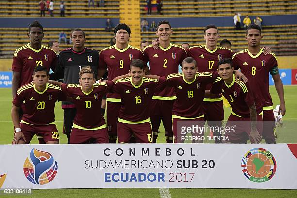 Venezuela's football players pose for pictures before the start of their South American Championship U20 match against Colombia in the Olimpico...