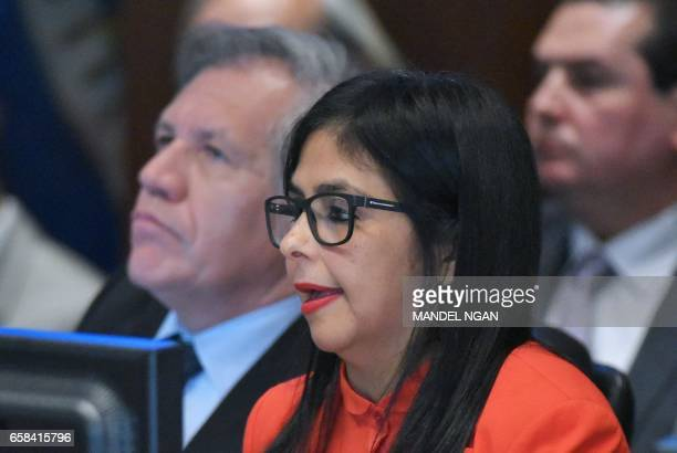 Venezuela's Foreign Minister Delcy Rodríguez speaks during an address to the Organization of American States on March 27 2017 in Washington DC as OAS...