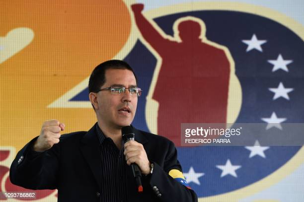 Venezuela's Foreign Minister Jorge Arreaza delivers a speech during a commemoration for the 27th Anniversary of the Military Rebellion of the 4FEB92...