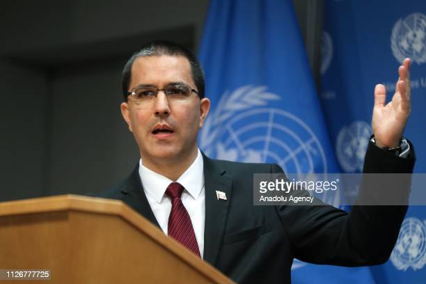 Venezuela's Foreign Minister Jorge Arreaza delivers a speech during a press conference at the United Nations headquarters in New York United States...