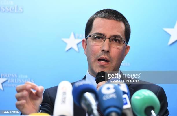 Venezuela's Foreign Minister Jorge Arreaza holds a press conference as part of his visit to Brussels on April 11 2018 / AFP PHOTO / Emmanuel DUNAND