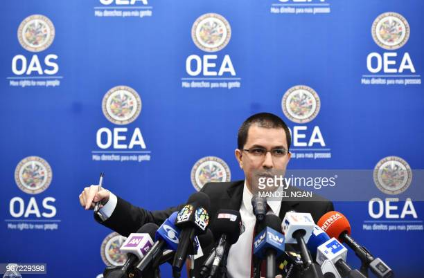 Venezuela's Foreign Minister Jorge Arreaza speaks during a press conference on the sidelines of the Organization of American States 48th General...