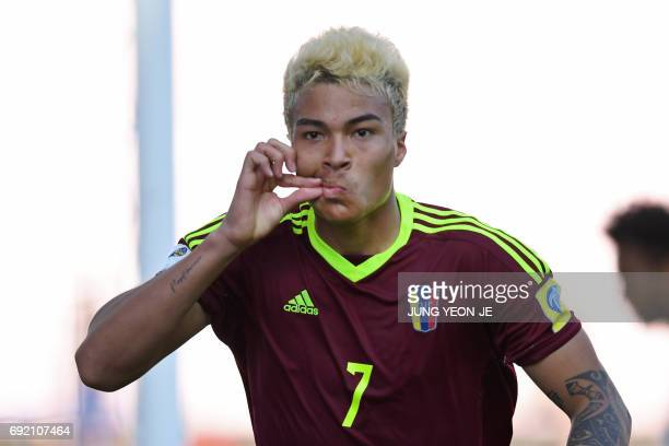 Venezuela's forward Adalberto Penaranda Maestre reacts after scoring during their U20 World Cup quarterfinal football match between Venezuela and the...
