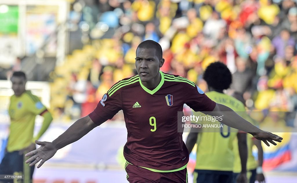 Venezuela's forward Jose Rondon celebrates after scoring against Colombia during their 2015 Copa America football championship match, in Rancagua, Chile, on June 14, 2015.