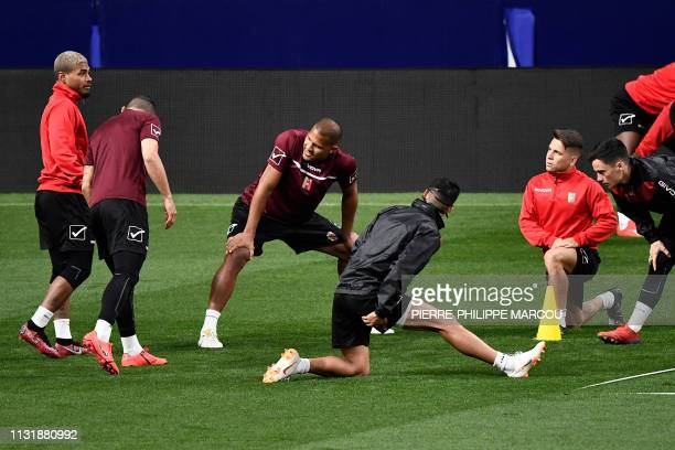 Venezuela's forward Salomon Rondon and teammates attend a training session at the Wanda Metropolitano stadium in Madrid on March 21 2019 on the eve...