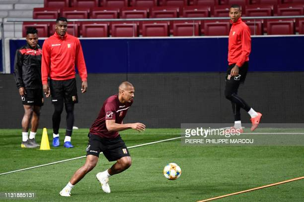 Venezuela's forward Salomon Rondon attends a training session at the Wanda Metropolitano stadium in Madrid on March 21 2019 on the eve of an...