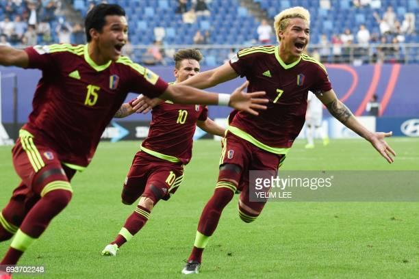 Venezuela's forward Samuel Sosa midfielder Yeferson Soteldo and forward Adalberto Penaranda Maestre celebrate a goal during the U20 World Cup...