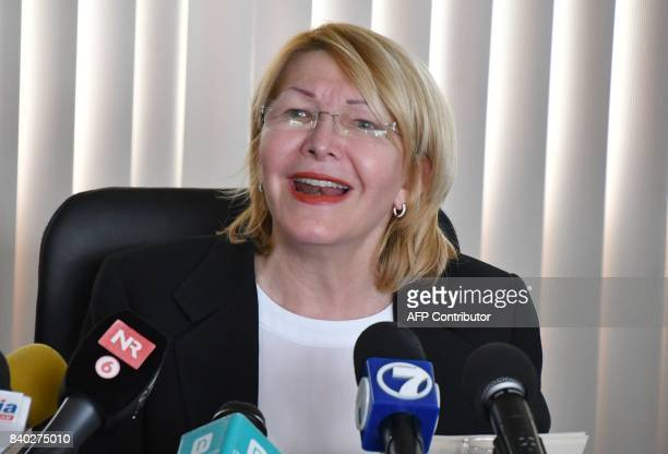 Venezuela's fugitive former top prosecutor Luisa Ortega speaks during a press conference in the General Prosecutor's office in San Jose on August 28...