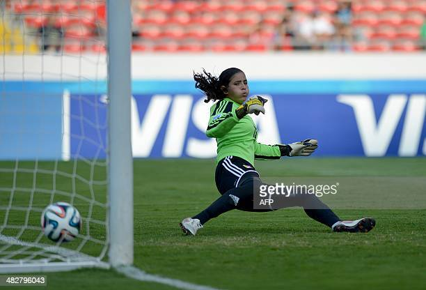 Venezuela's goalie Nayluisa Caceres fails to stop the ball kicked by Italy's Lisa Boatin during the penalty shootout of their FIFA U17 Women's World...