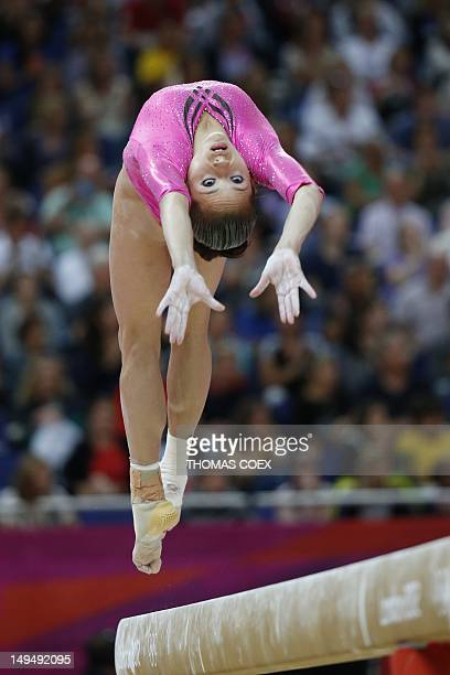 Venezuela's gymnast Jessica Lopez performs on the beam during the women's qualification of the artistic gymnastics event of the London Olympic Games...