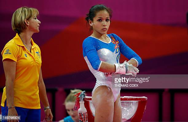 Venezuela's gymnast Jessica Lopez takes part in a training session at 02 North Greenwich Arena in London on July 26 2012 on the eve of the start of...