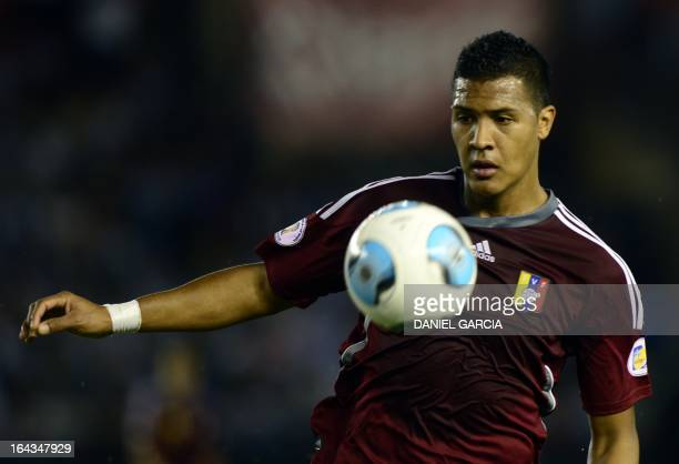 Venezuela's Jose Rondon tries to control the ball during the FIFA World Cup Brazil 2014 qualifying match against Argentina at the Monumental stadium...