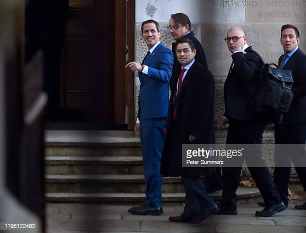 Venezuela's Juan Guaido arrives at the Foreign Office ahead of a meeting with Foreign Secretary Dominic Raab on January 21 2020 in London England...
