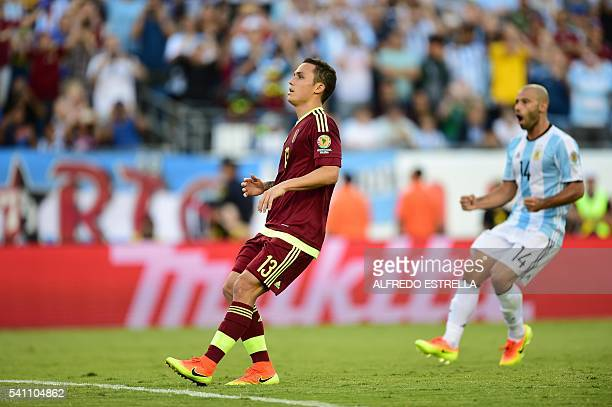 Venezuela's Luis Seijas reacts in dejection after kicking a penalty during a Copa America Centenario quarterfinal football match against Argentina in...