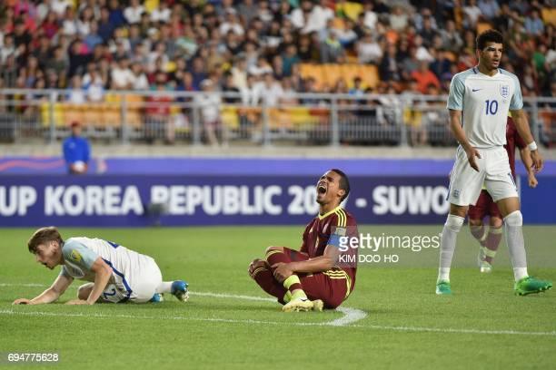 Venezuela's midfielder Yangel Herrera reacts during the U20 World Cup final football match between England and Venezuela in Suwon on June 11 2017 /...