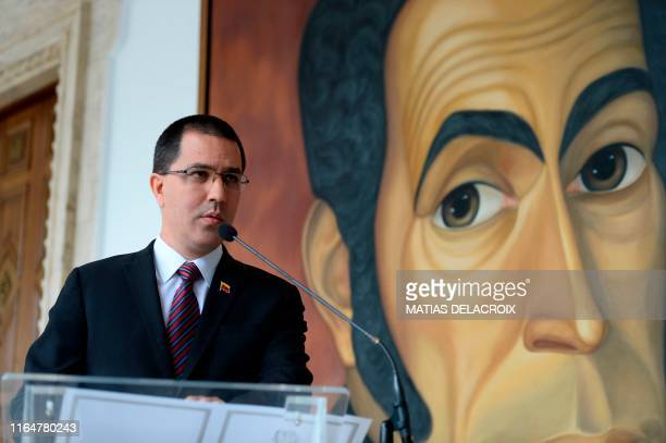 Venezuela's Minister of Foreign Affairs Jorge Arreaza delivers a statement at the Venezuelan foreign ministry building in Caracas on August 30 2019...