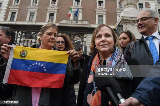 Venezuela's Mitzy Capriles de Ledezma the wife of former mayor of Caracas who is set to be received with other members of a Venezuelan delegation by...